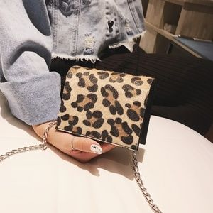 Mini Bag Cross Body Leopard & Black Silver Chain